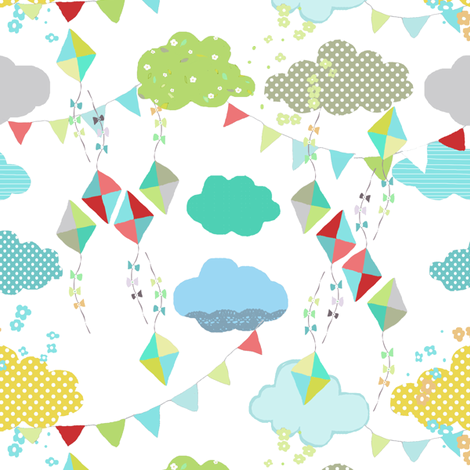 kites white fabric by katarina on Spoonflower - custom fabric