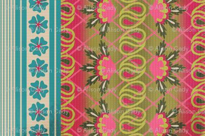 Kantha quilt fat-quarter tea towel 18x27 no.1