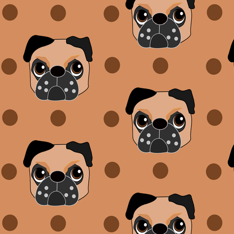 Fudge the Fawn Pug fabric by missyq on Spoonflower - custom fabric