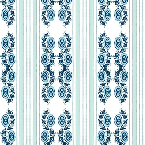 aquablue vintage stripey flower-ch