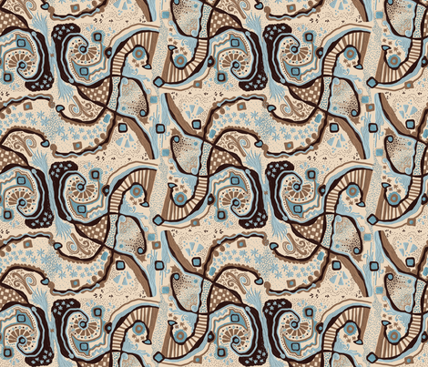 Crowded land C cream - Zoom for texture fabric by su_g on Spoonflower - custom fabric