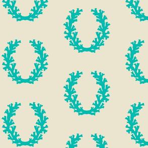 Intricate Coral Wreath - Ocean Aqua