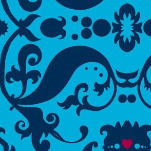 Damask with pink hearts blue on aqua