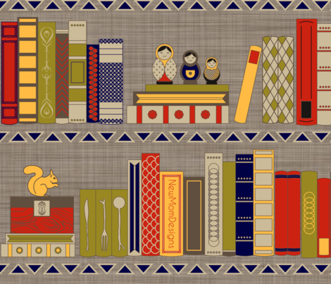 My bookshelf fabric by newmomdesigns on Spoonflower - custom fabric
