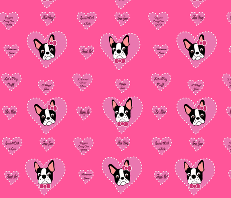 Pink Valentine Bostons fabric by missyq on Spoonflower - custom fabric