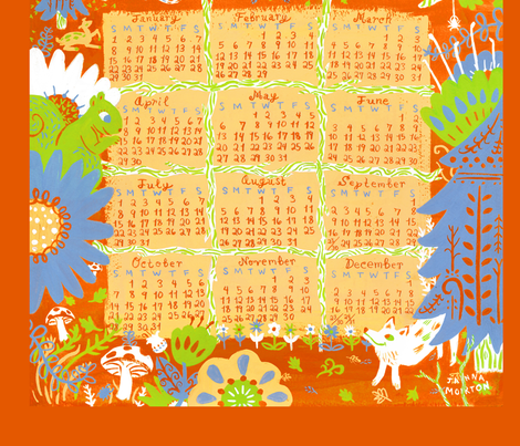 2012 Woodland Creature Calendar Tea Towel - Orange fabric by jannamorton on Spoonflower - custom fabric
