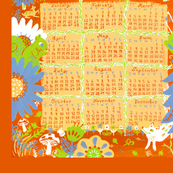 2012 Woodland Creature Calendar Tea Towel - Orange