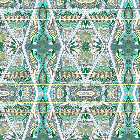 Aqua Zig Zag Victorian Diamonds fabric by edsel2084 on Spoonflower - custom fabric