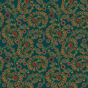 Bold, large-scale paisley on teal