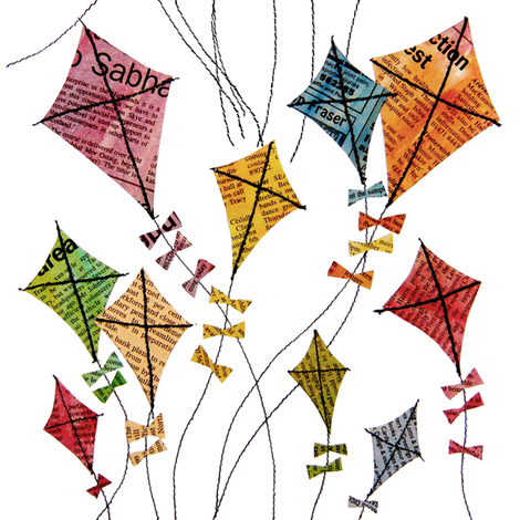 newsprint_kites fabric by peppermintpatty on Spoonflower - custom fabric