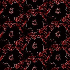 Neon black flower squares