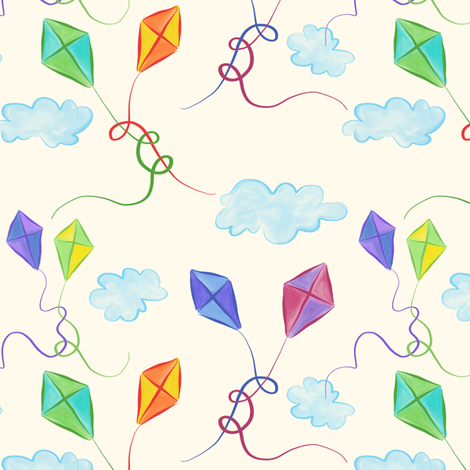 Kites in Love fabric by sew-me-a-garden on Spoonflower - custom fabric