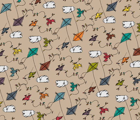 Drachenflug - kite flight fabric by annosch on Spoonflower - custom fabric