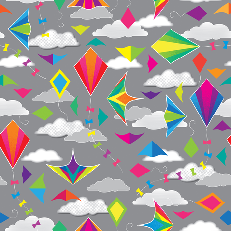 Bright Kites fabric by jennartdesigns on Spoonflower - custom fabric