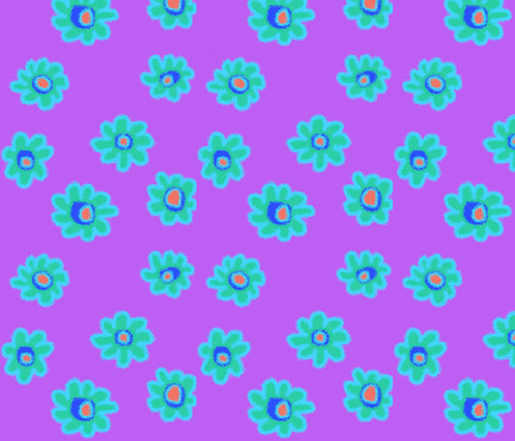 Bright Flowers-Purple fabric by mammajamma on Spoonflower - custom fabric