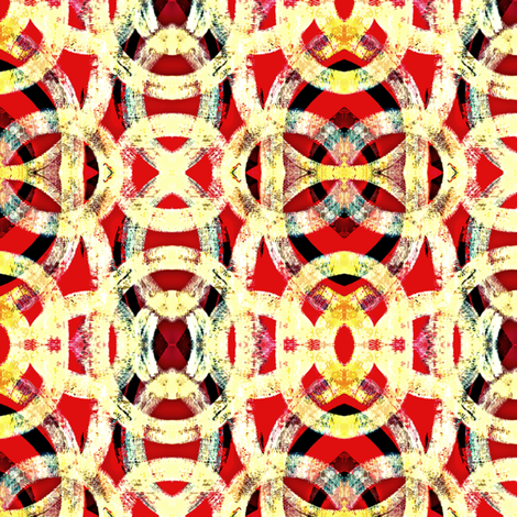 red and gold abstract links fabric by glennis on Spoonflower - custom fabric