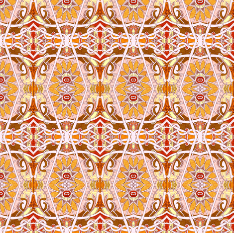 Happy Orange Art Deco Flowers