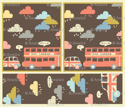Rainy London dish towel and hand towel set