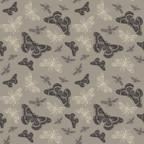 INSECTS AT NIGHT fabric by natasha_k_ on Spoonflower - custom fabric