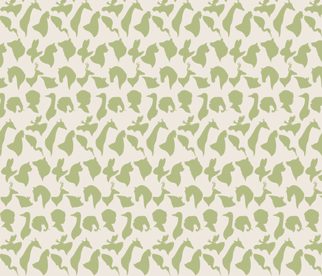 MINI_SILHOUETTES_GREEN fabric by natasha_k_ on Spoonflower - custom fabric