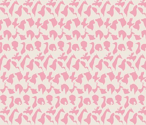 MINI_SILHOUETTES_PINK fabric by natasha_k_ on Spoonflower - custom fabric