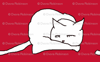 white cats on red