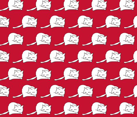 white cats on red fabric by dvora on Spoonflower - custom fabric
