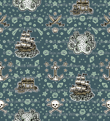 Marine Blue Pirate Print