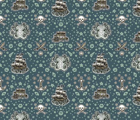 Marine Blue Pirate Print fabric by teja_jamilla on Spoonflower - custom fabric