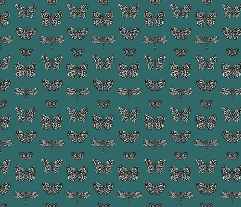 Art Nouveau Butterflies Blue fabric by teja_jamilla on Spoonflower - custom fabric