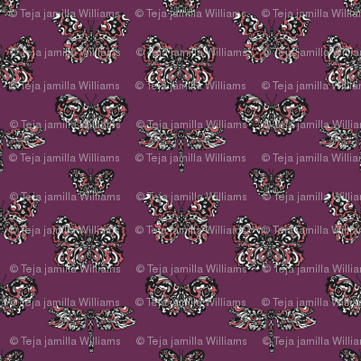 Art Nouveau Butterflies Purple