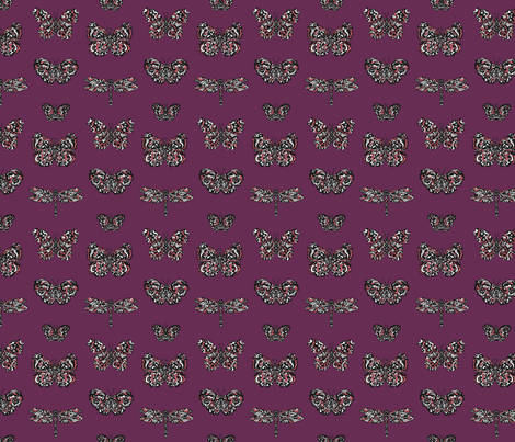 Art Nouveau Butterflies Purple fabric by teja_jamilla on Spoonflower - custom fabric