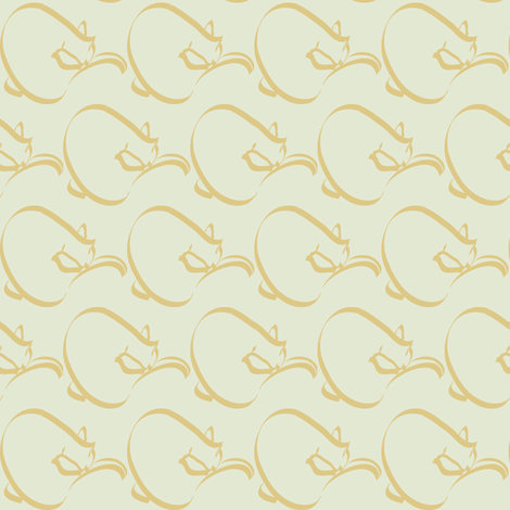 Curlcat pattern  - sm - ltgreen fabric by mina on Spoonflower - custom fabric
