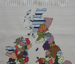 UK & Ireland Counties 2013 Calendar Tea Towel