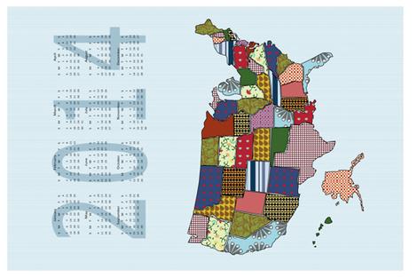 USA States 2014 Calendar Tea Towel - Light blue  fabric by madex on Spoonflower - custom fabric