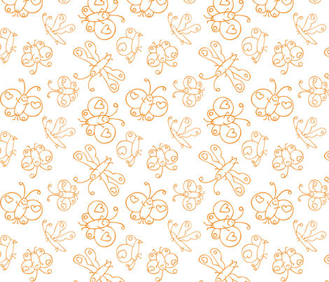 Happy Butterflies Orange fabric by samvanvoorst on Spoonflower - custom fabric
