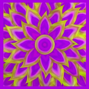 Lotus Flower Purple Pink and Citron Yellow