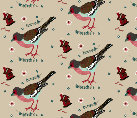 birdie's house  flour sack fabric by paragonstudios on Spoonflower - custom fabric