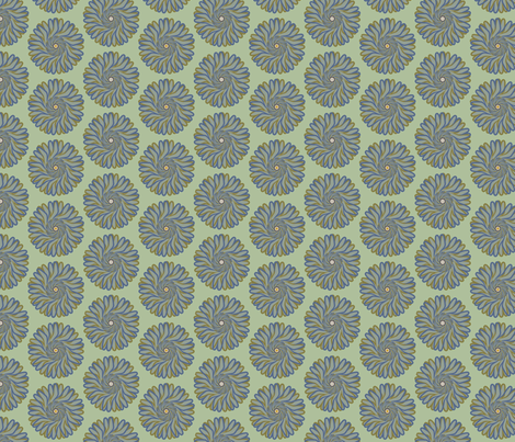 Blue Flower on Seafoam fabric by david_kent_collections on Spoonflower - custom fabric