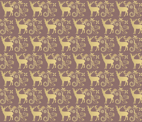 Vintage Deer in Purple  fabric by icarpediem on Spoonflower - custom fabric