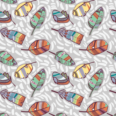 Floating Feathers fabric by gsonge on Spoonflower - custom fabric