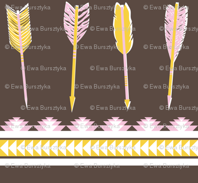 aztec arrows - dark brown, pink & yellow