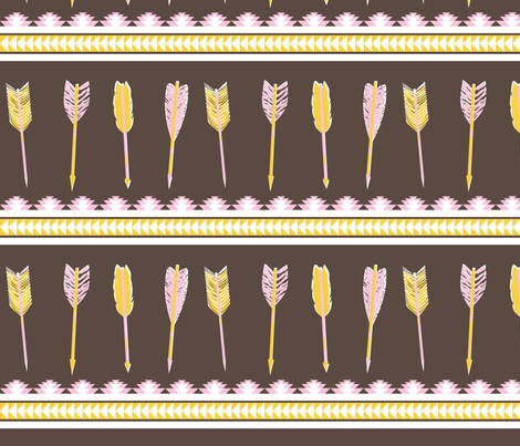 aztec arrows - dark brown, pink & yellow fabric by ravynka on Spoonflower - custom fabric