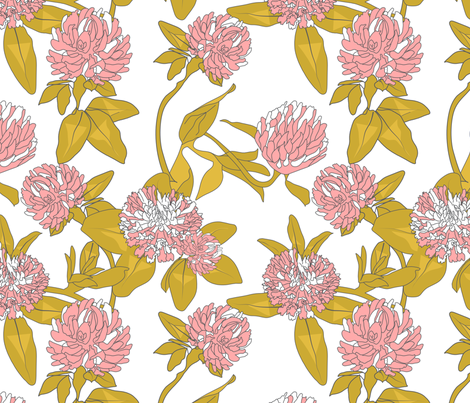 Clover Flowers - Pink & White fabric by newmom on Spoonflower - custom fabric
