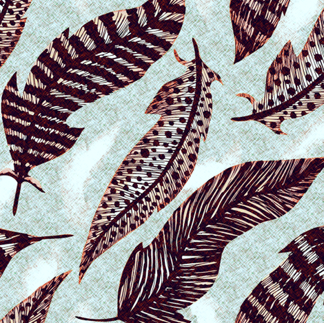 Feathers Ice fabric by kezia on Spoonflower - custom fabric