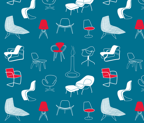 mid century modern chairs fabric by walsh|studio on Spoonflower - custom fabric