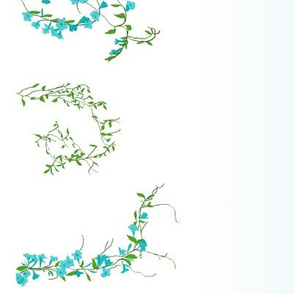 Floral vines with gradient--aqua