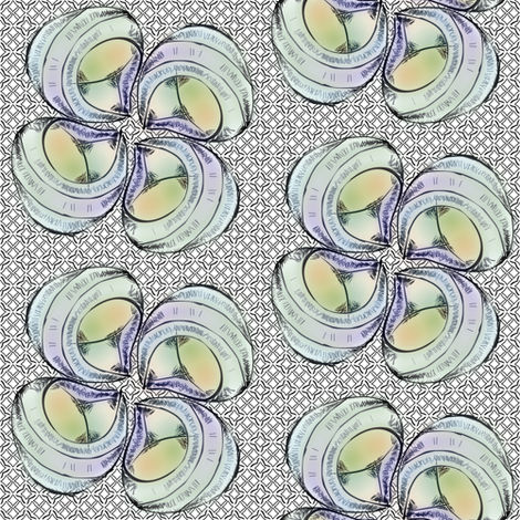 shellflower- blue fabric by glimmericks on Spoonflower - custom fabric