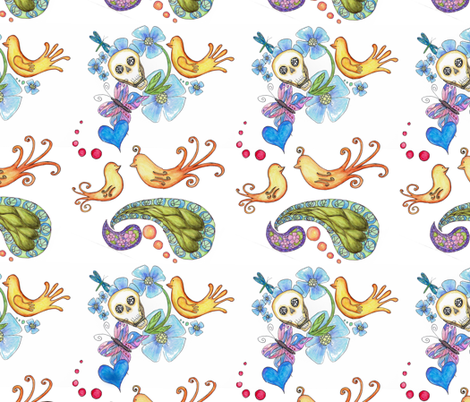 birdies and skullies fabric by aftermyart on Spoonflower - custom fabric