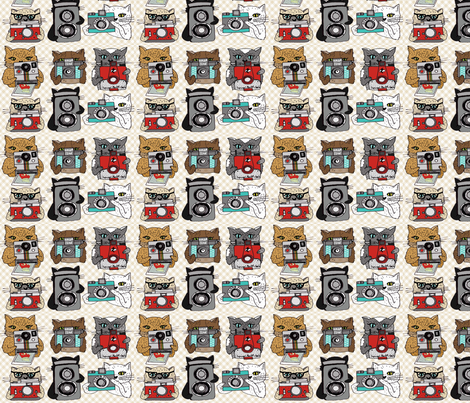 Cats with Cameras fabric by papersparrow on Spoonflower - custom fabric